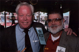 Skip Melnick poses with Frank Burla, proprietor of the Frank P. Burla Antique Pipe & Tobicanna Museum and the Chicagoland Pipe Collectors Club.